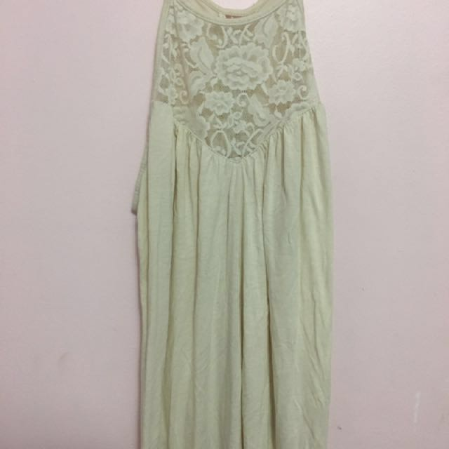 cream haltered lace tank top