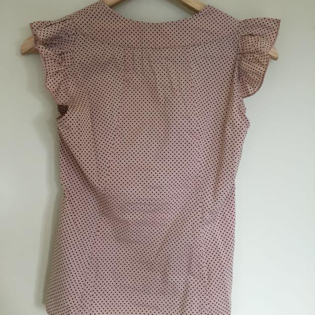 CUE Pink & Black Dot Shirt