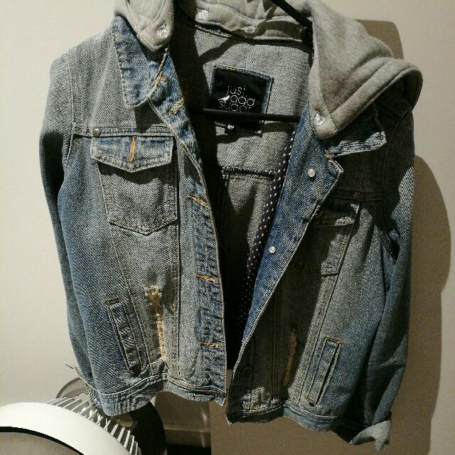 Denim Jacket With A Detachable Hoodie