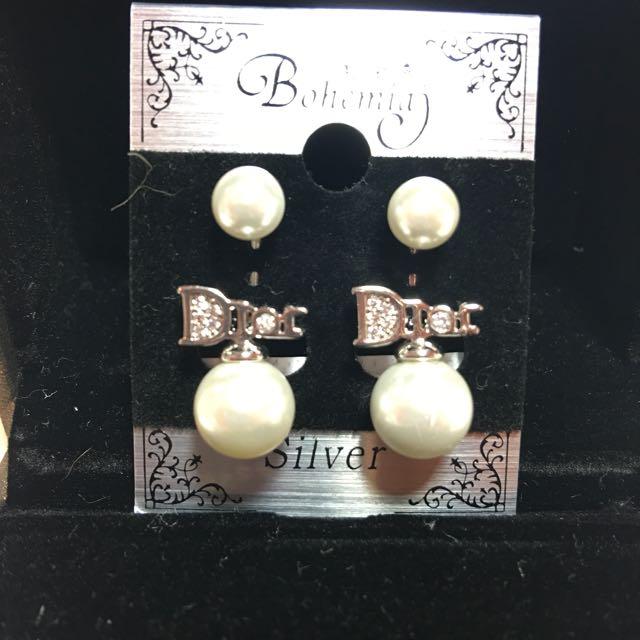 正韓Dior款珍珠耳環(純銀)