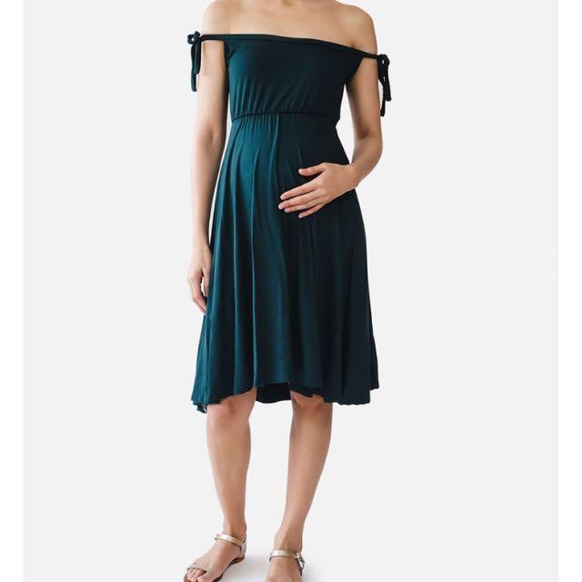 Elin Off Shoulder Maternity Nursing Dress in Dark Green
