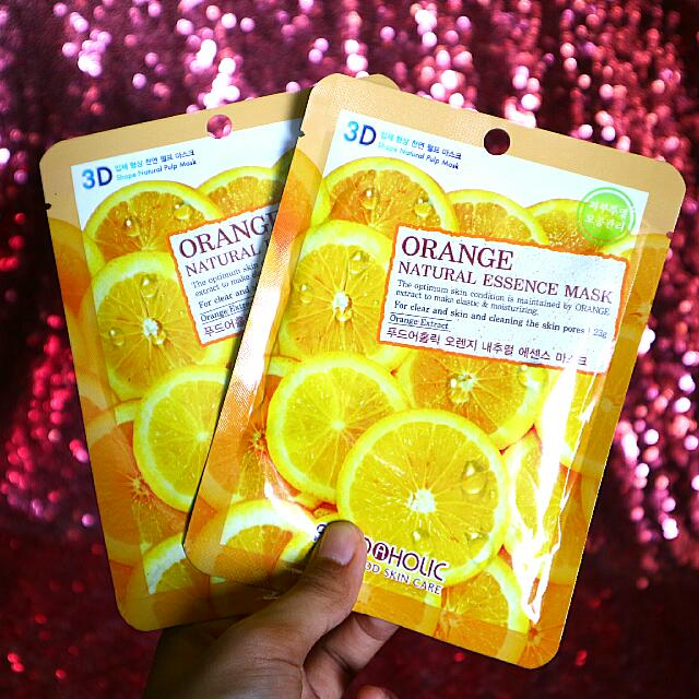 FOOD A HOLIC Natural Essence Sheet Mask 3D ( Orange Pomegranate Blueberry Collagen ) Foodaholic