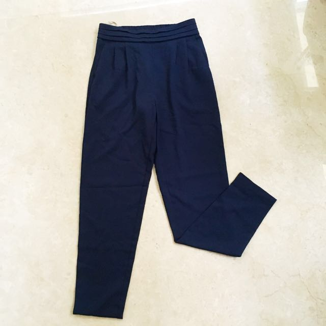 Forever21 executive navy pants celana bahan kerja