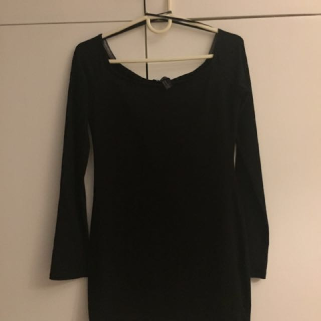 485ac5766 Forever 21 Black Long-sleeve Dress, Women's Fashion, Clothes ...