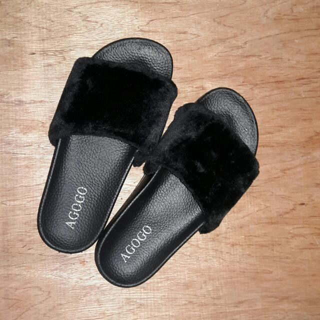 Fur Slides Slipper Sandals