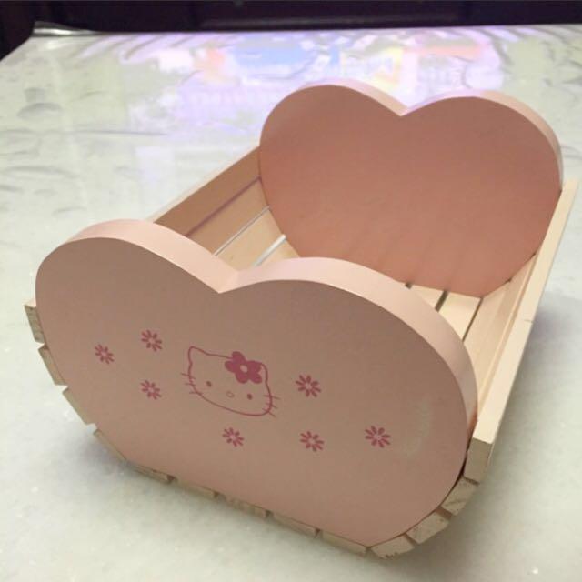 Kitty木製 置物籃