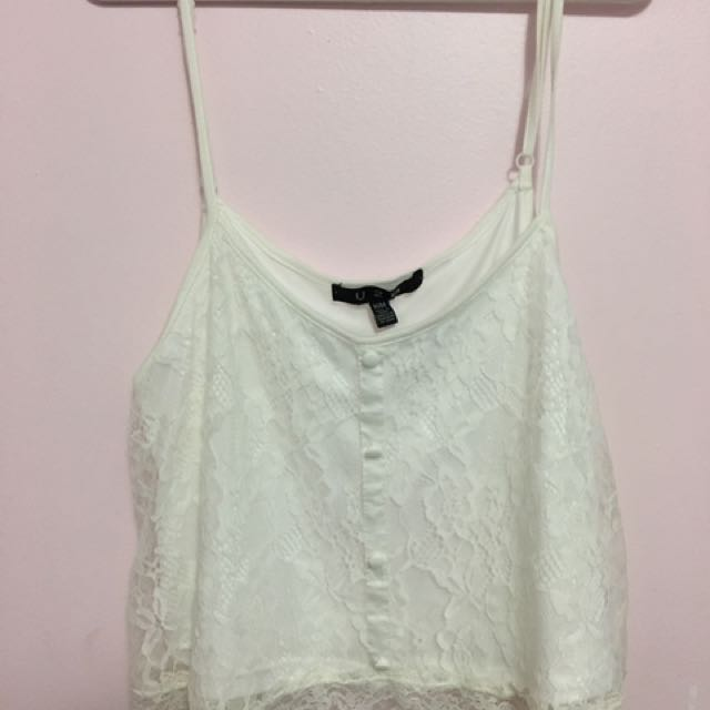 laced white tank top