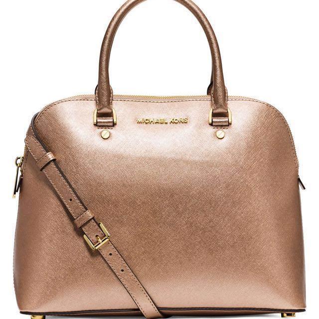 0d8f4690613d Michael Kors Cindy Saffiano Leather Large Dome Satchel Bag (Rose ...