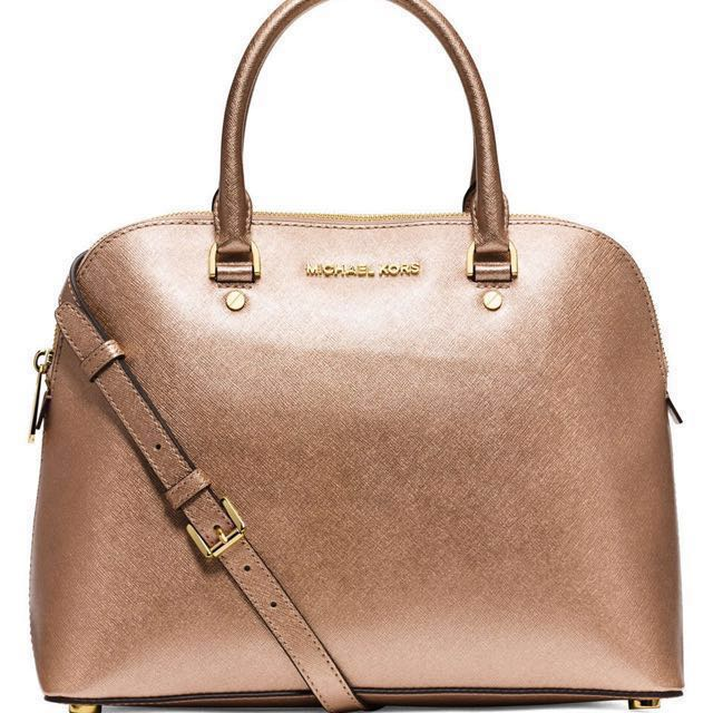 d6738f63e56b Michael Kors Cindy Saffiano Leather Large Dome Satchel Bag (Rose ...