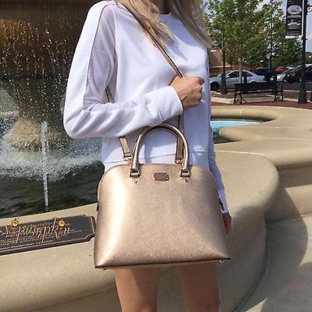 8362999aaa23 Michael Kors Cindy Saffiano Leather Large Dome Satchel Bag (Rose Gold)