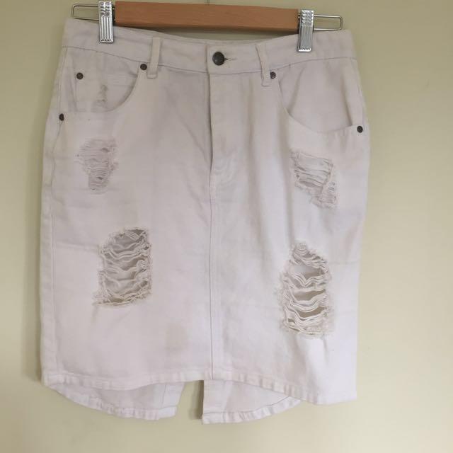 Milk & Honey White Denim Distressed Skirt