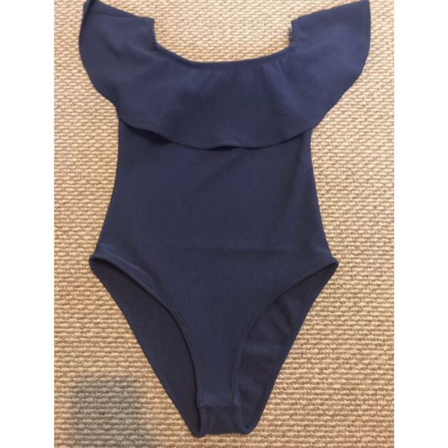 Navy ruffle Bodysuit