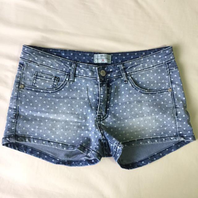 NET Heart Patterned Denim Shorts