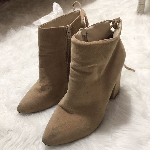 Nude Faux Suede Booties