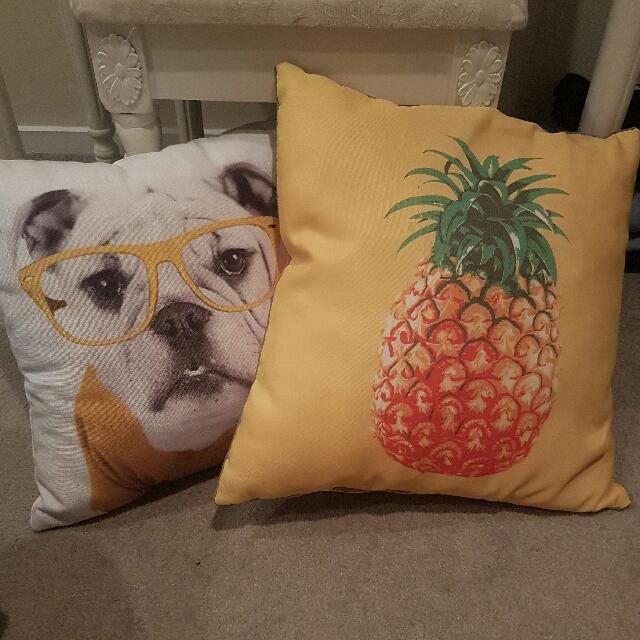 Pineapple And Bulldog Pillows- The Warehouse