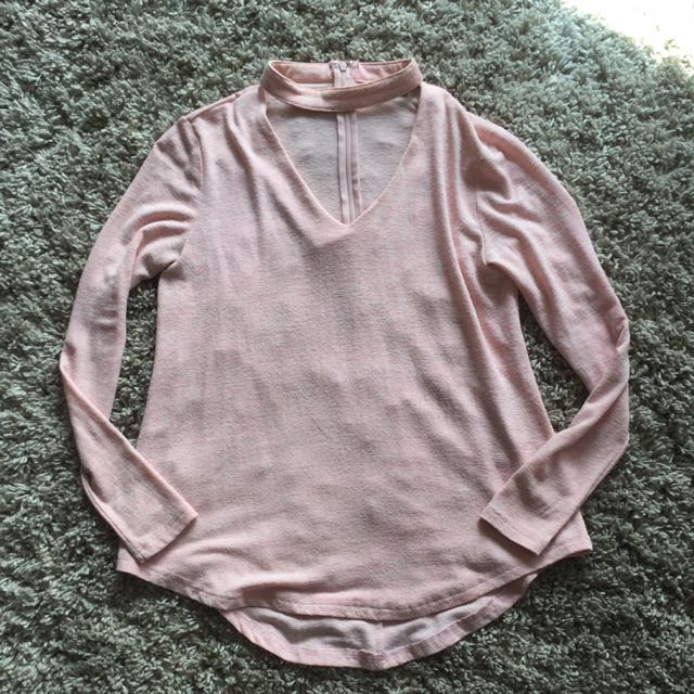 Pink Choker Long Sleeve Top