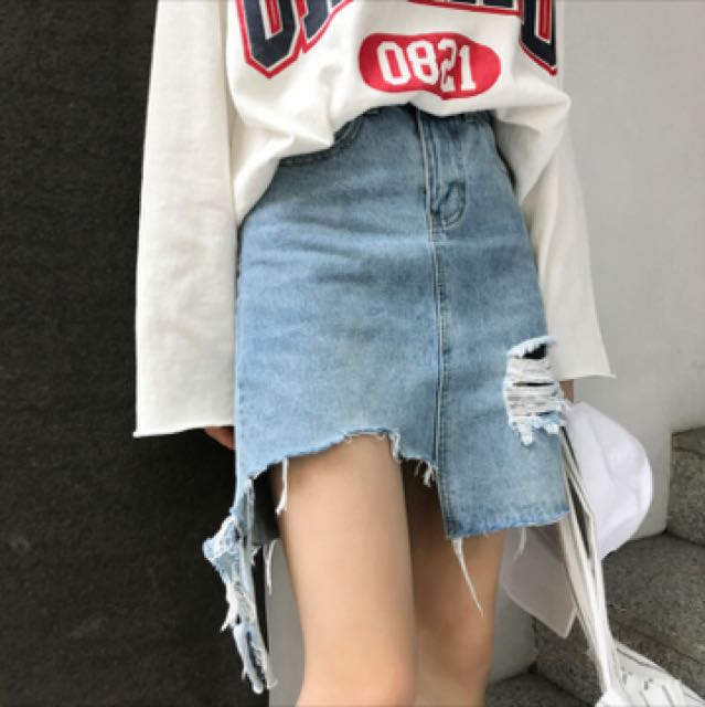 new products store super cute PLUS SIZE 5XL RIPPED DENIM SKIRT