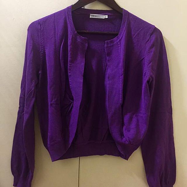 Purple Cropped  Cardigan