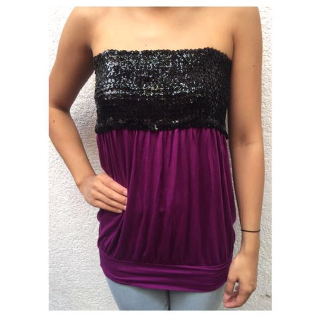 Purple tube top with black sequins