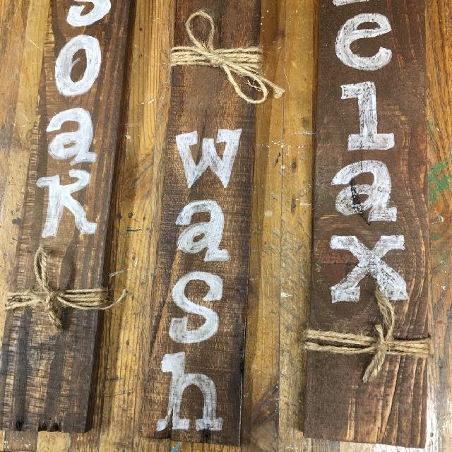 Rustic Reclaimed Wood Bathroom Signs