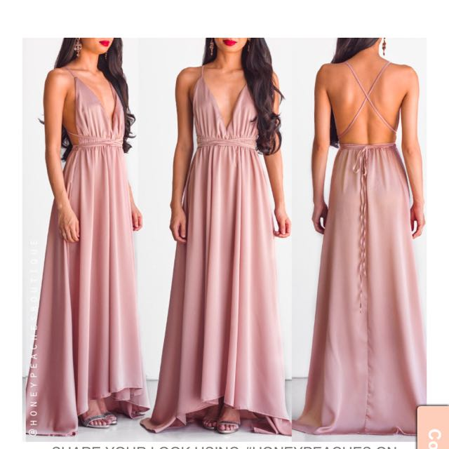 Satin dusty pink maxi formal dress