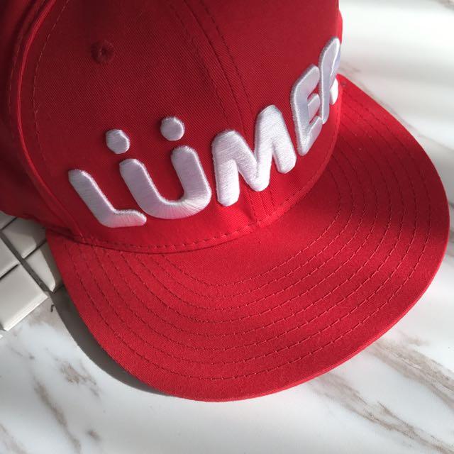 Sexydiamond 紅色英文字LUMER嘻哈棒球帽