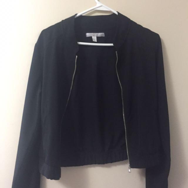 Silky black bomber jacket s