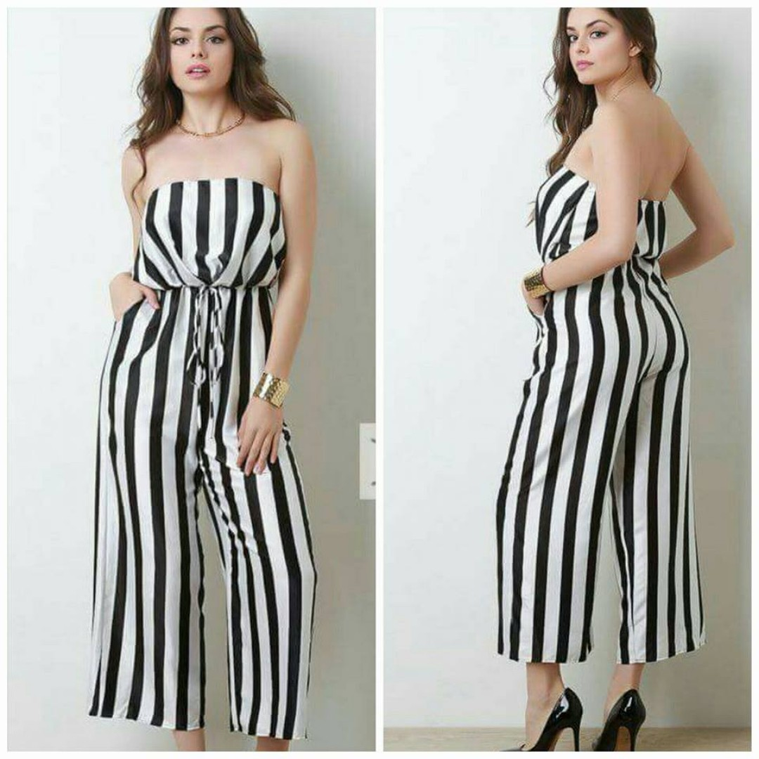 Strapless Striped Satin Jumpsuit