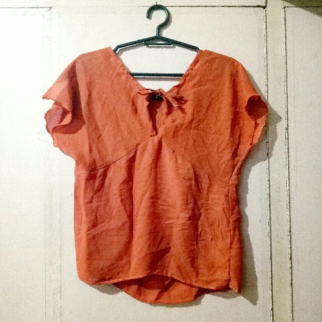 Tangerine Sheer Blouse
