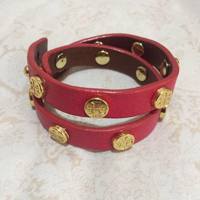 tory burch double wrap logo bracelet in hot pink