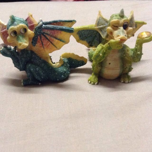Two Small Dragon Statues