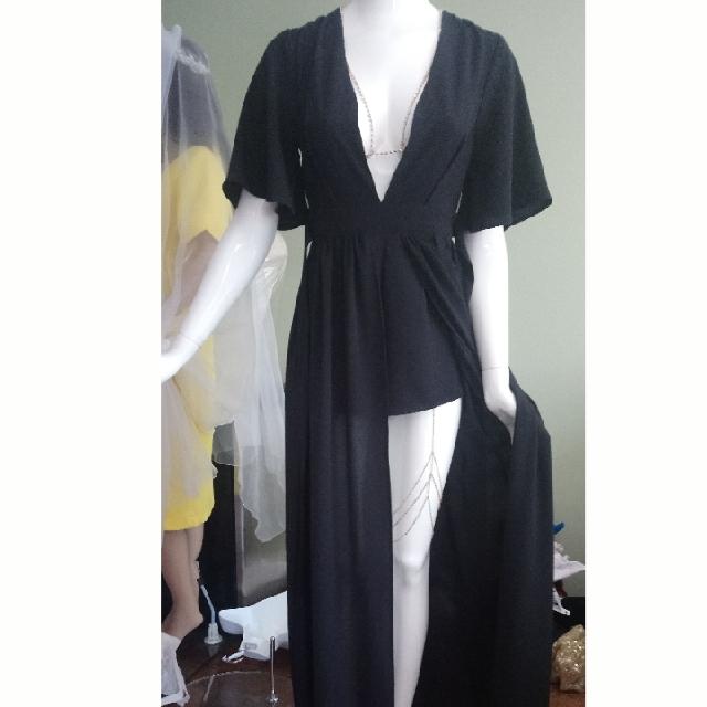 V Neck Rompers Long Gown Black