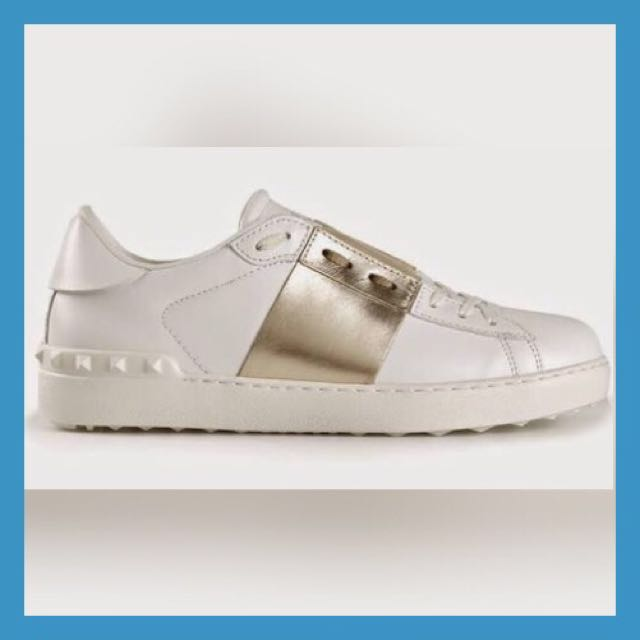 Valentino Women's White & Gold // Leather Strip Sneaker