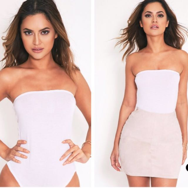 White Bandeau Bodysuit size 8