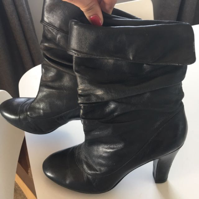 Womens Nine West Leather Slouch mid calf boots