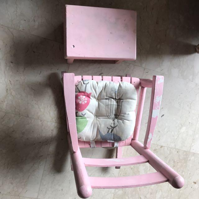 65ec74dd0b0c06 Wooden rocking chair and footrest