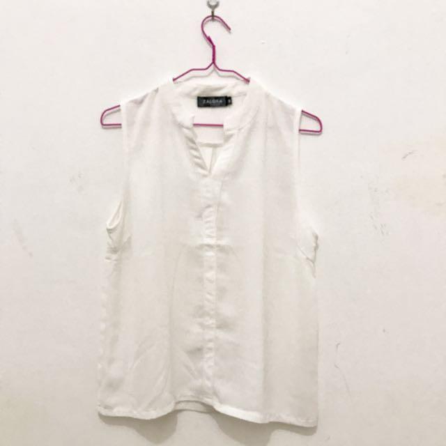 Zalora - Basic White Blouse