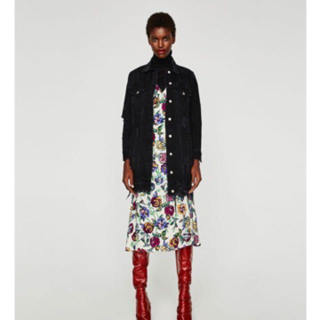Zara Long Black Denim Jacket