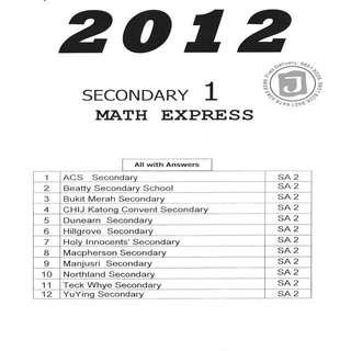 Exam papers 2012 Sec 1 Express Maths