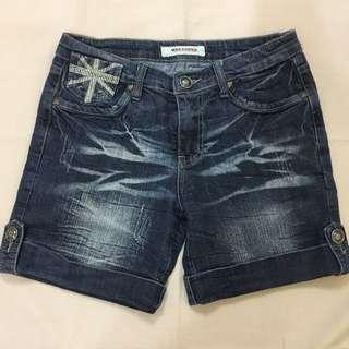 Dark Denim Shorts with Union Jack Pocket Design 【Preloved】