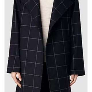 All Saints Iza Italian cloth wool blend check coat