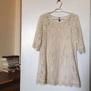 Deep Cream Mini Lace Dress