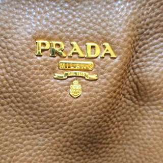 AUTHENTIC PRADA BAG - Large, Slouchy, Brown And Gold Designer Bag