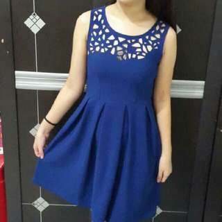 Dress Ethnic Electric Blue / Dress Bagus / Dress Murah