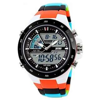 Skmei 1016 Quartz Multicolor Silicone Army Waterproof Sport Digital Analog Watch(Int: One size) - FREE Delivery & COD
