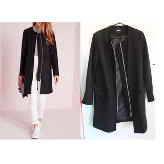 MISSGUIDED FAUX WOOL BLACK COAT