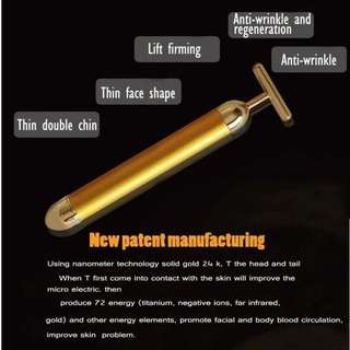 24K Gold T Bar Face Lifting V Shaping Slimming Pulse Massager Stick Rids Water Retention & Double Chin