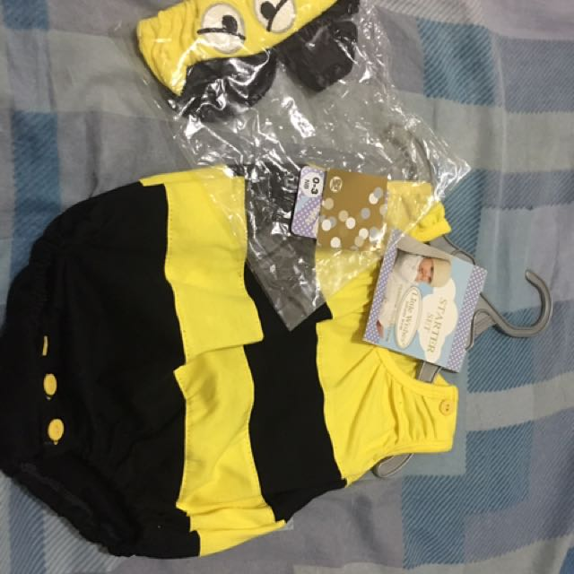 0-3 months ONESIES as Little BEE with head gear