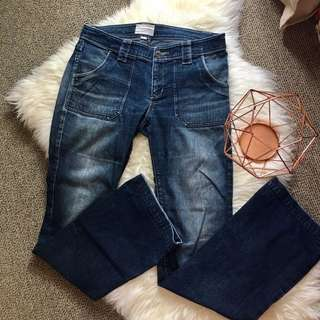 Country road 8 low rise boot cotton women blue denim wash jeans pants flare