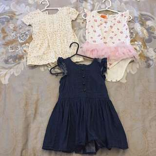 Size 1 girls baby bundle - x 3 Romper/dress